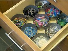 junk drawer, office organization, drawer organization, office supplies, closet organization, tin cans, household items, teacher, desk organization