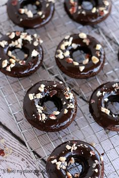 Baked Chocolate Hazelnut Donuts #BrunchWeek  #donuts #chocolatehazelnut