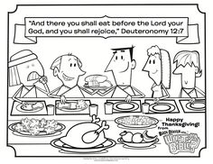 What's in the Bible? Deuteronomy 12:7 Thanksgiving Coloring Page - this page has the 10 Thanksgiving coloring pages! FREE