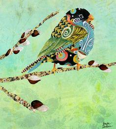 Bird illustration art by Jennifer Lambein via www.Facebook.com/JenniferLambeinStudioPetite art prints, illustr art, swir bird, birds illustration, illustration art, funky bird illustrations