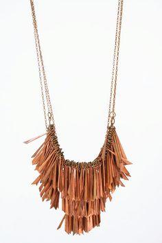 brass shag fringe necklance by beklina (made with vintage copper)