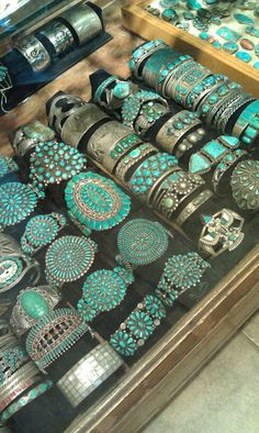 vintage turquoise and silver cuffs, c. 1920 - 30