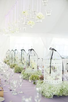 Birdcages #White #Wedding … Wedding #ideas for brides, grooms, parents & planners https://itunes.apple.com/us/app/the-gold-wedding-planner/id498112599?ls=1=8 … plus how to organise an entire wedding, within ANY budget ♥ The Gold Wedding Planner iPhone #App ♥ For more http://pinterest.com/groomsandbrides/boards/ #Budget #Ideas #Tables #Receptions #Candles