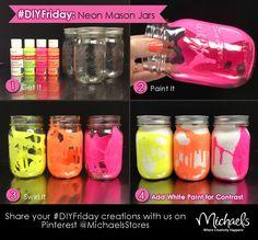 DIYFriday Neon Mason Jars