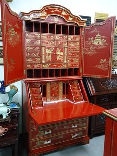 Chinoiserie Red Lacquer Secretary  Desk Cabinet