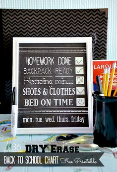 Free printable back to school chart for kids.