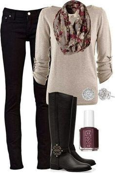 Casual Street Style Outfit -Gray Sweater, Pants, Scarf, Tory Burch Shoes
