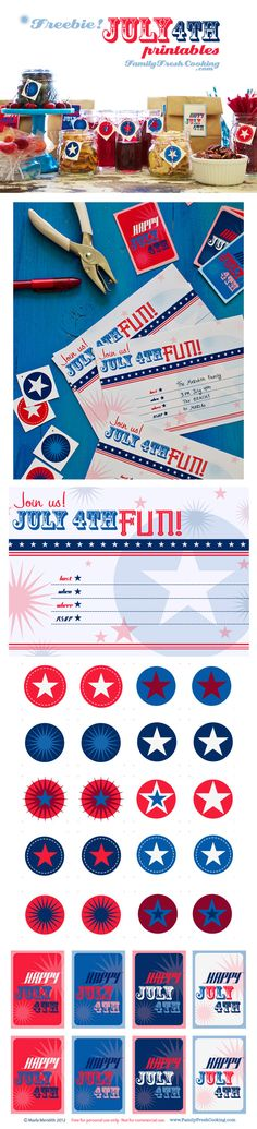 Free! July 4th Party Printables | DIY Invitations, Tags, Labels on FamilyFreshCooking.com designs and photos © MarlaMeridith.com