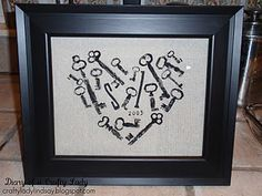 """Key To My Heart"" ~ Use old keys and craft paint to stamp this picture, add initials and an anniversary date."