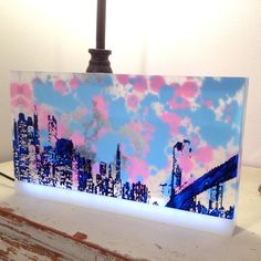 City Painting -- blue and pink