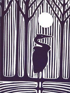 """Night Heron"" linocut by Gregorio Perez. http://gregorioperez3.wordpress.com/ Tags: Linocut, Cut, Print, Linoleum, Lino, Carving, Block, Woodcut, Helen Elstone,  Night, Trees, Birds."