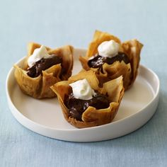 Mocha Phyllo Cups Recipe - Health.com    Alt. Recipe: http://www.foodnetwork.com/recipes/sandra-lee/mocha-phyllo-cups-recipe/index.html