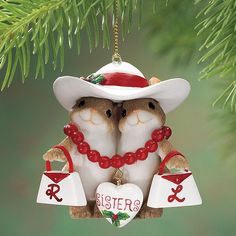 Personalized Sisters Charming Tails Ornament
