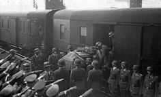 Reinhard Heydrich's casket being placed on a train destined to Berlin