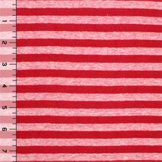 Vintage Red Stripe Cotton Jersey Knit Fabric