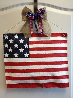 Burlap Flag Door Hanger by ILoveItDesigns on Etsy. $30.00, via Etsy.