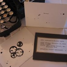 Envelopes stamped with gear stamps in India ink. Typewritten, metal invitations.