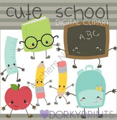 Back to School Supplies Kawaii Clip Art from Dorky Doodles on TeachersNotebook.com -  (7 pages)  - Cute Kawaii style clip art for back to school!