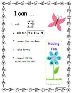 Adding Ten Math Work Station FREEBIE