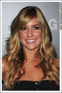 Details: Hair Style: Kristin Cavallari has her hair styled down very long onto the back and shoulders. Her hair is curly with bangs brushed over at the forehead. This look is sexy and romantic. Hair Cut: Kristin's haircut is long and layered. Hair Colour: The hair colour is dark golden blonde. Suitable For: Face shapes: oval, oblong, heart, round Hair texture: medium, thick Hair density: medium Styling: Maintenance: challenging Time: 30 mins or more Techniques: blow dry Products: mousse, hair spray, curl enhancer