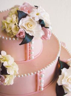 pearl, dream wedding cakes, cake wedding, pink cakes, button, pink weddings, vintage cakes, designer cakes, bridal showers