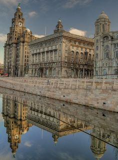 Liverpool Pier head, Liverpool, England, known as The Three Graces, it includes the Royal Liver Building, the Cunard Building and the Port of Liverpool Building