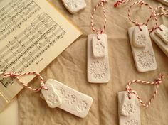 Clay Christmas tree decorations made by http://decoratorsnotebook.wordpress.com