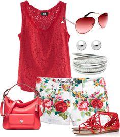"""Floral shorts set"" by lovelyingreen on Polyvore"