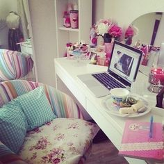 love the big desk chair..and its a big desk that doubles as a work space and a make-up space with mirror behind