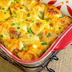 Bacon Cheese Pull-Aparts: 1 can Grands biscuits, 1 egg, milk, hot sauce, cheddar cheese, 5 slices bacon, green onions.