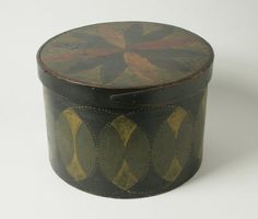 """Painted and Decorated Circular Covered Wooden Box  Sold For $ 1,100  American, first half 19th century Inscribed on bottom: """"James Abbe, Jr. Jericho, N.Y."""" H. 10 in.; Diam. 14 _ in."""