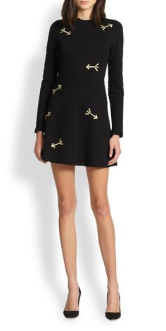 Carven Metallic Embroidered Arrow Knit Dress