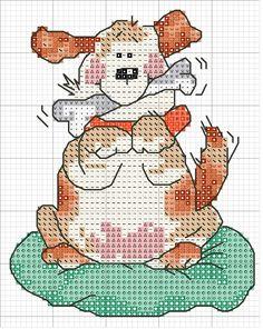 Schematic cross stitch Dog Bone In Mouth 1