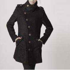 winter coat black coat cashmere coat wool coat winter by FM908, $118.00