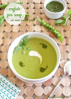 English Pea Soup with Mint Parsley Pesto | flavorthemoments.com