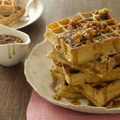 The ultimate post-Thankgiving breakfast: Pumpkin Waffles With Maple Walnut Syrup