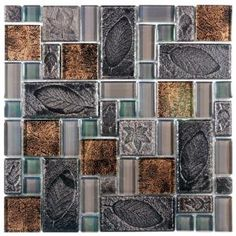 Merola Tile Garden Versailles Walnut 11 3/4 in. x 11 3/4 in. Ceramic and Glass Wall Tile
