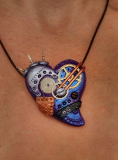 Steampunk Heart Pendant OOAK Polymer Clay Purple by CherryCarnage