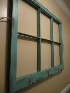hook, downstairs bathroom, old window panes, frame, towel racks, old window crafts, old windows, coat racks, old doors