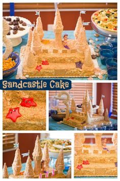 Sandcastle cake. DIY. Under the Sea Mermaid Birthday Party