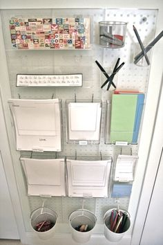 Writing Center mounted on wall with pegboards