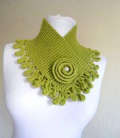 Apple green neckwarmers, autumn, wool, hand-knitted