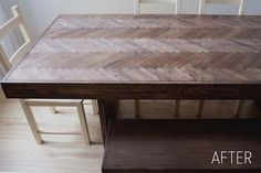 before & after: herringbone wood dining table coffee tables, kitchen tables, dining room tables, wood tables, wood scraps, old doors, herringbon tabl, dining tables, diy projects
