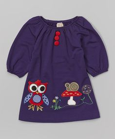Another great find on #zulily! Purple Owl & Snail Appliqué Dress - Toddler & Girls by Lele Vintage #zulilyfinds