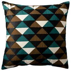 Patch Geometric Pillow - Green/Tan