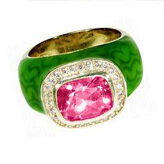 Haggai Pink Topaz & Enamel Ring