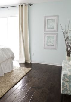love the contrast of the dark wood floors and the pale light gray blue walls