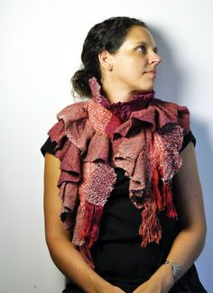 Aubrey  Handwoven Flair Scarf in shades of pink by Amber Kane. The perfect scarf to show off your beauty and give you confidence. Make a statement.