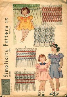 smocked dresses, dress patterns, vintag pattern, smock dress, sew idea