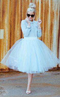 Windsor Blue White Tulle Midi Skirt by Cara Loren